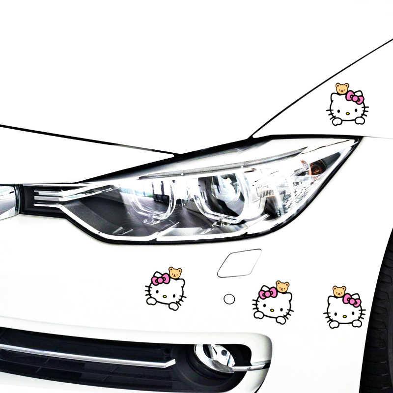 Etie 4 X автомобильные аксессуары рисунок «Hello Kitty» Стикеры наклейка модификации для мотоцикла тележка случае фокус Audi поло Bmw X5 X6 Kia skoda