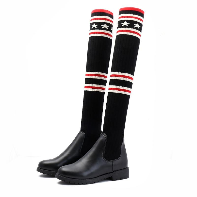 Talones Negro Invierno Señoras Señora Las Botas 2017 Negros Nuevos Cómodo Suéter Con Hasta La Mujeres Mujeres Cargadores Vendimia De Los Planas Rodilla Zapatos qOwfxvB