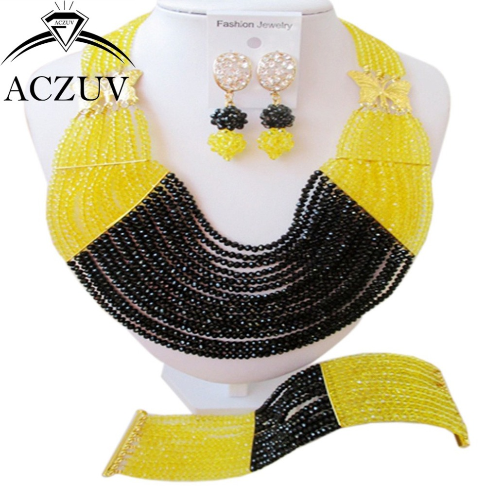 Costume Jewelry Set Black and Yellow Nigerian Wedding Crystal Beads AN015Costume Jewelry Set Black and Yellow Nigerian Wedding Crystal Beads AN015