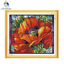 Poppy (6) 14CT DIY Needlework Counted Cross Stitch Set Kits for Embroidery Knitting Needles Cross-stitch Patchwork