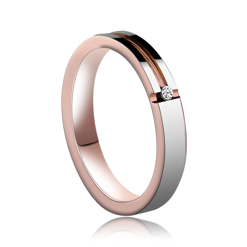 Beautiful Ladies Rose Gold Plating Tungsten Rings CZ Stone Inlay Confort Fit Band Wedding Ring Free Shipping Size 4-11