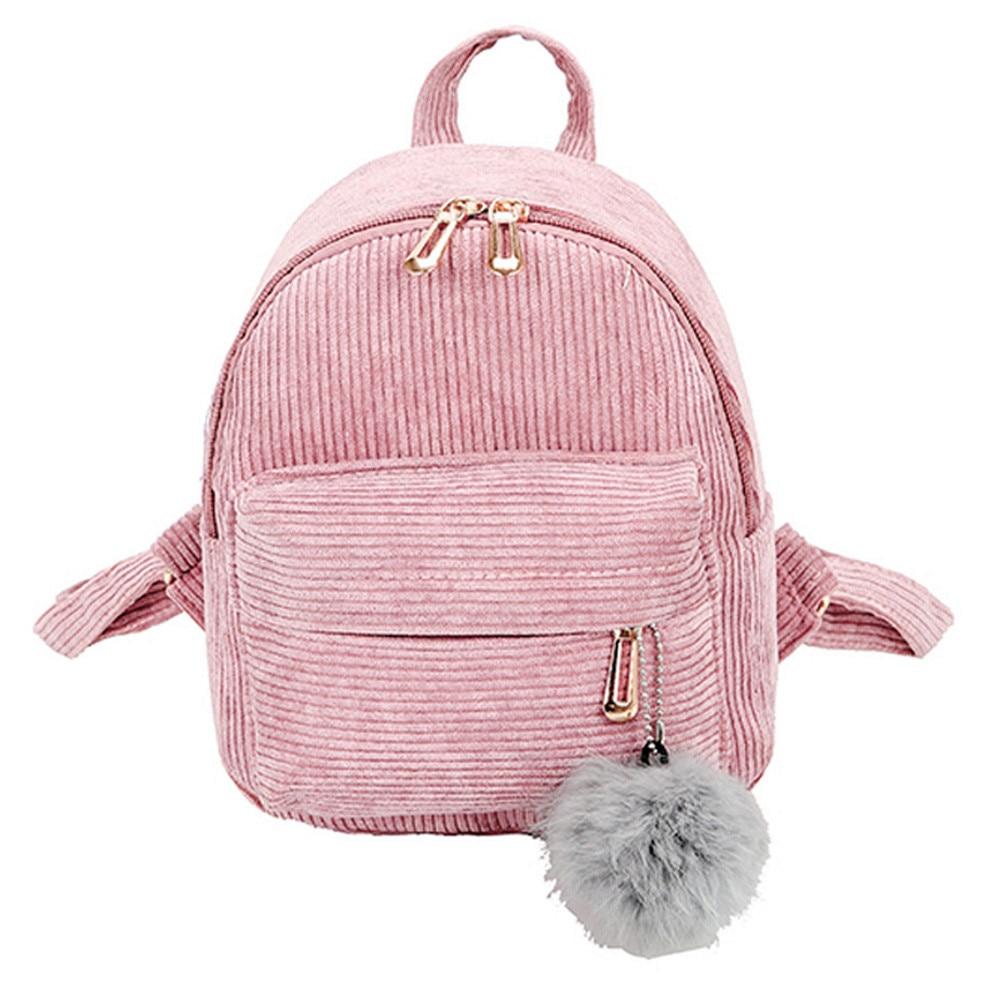 Contemplative Ishowtienda Girl Hairball Corduroy School Bag Student Backpack Satchel Travel Shoulder Bag Mochila Feminina Women's Bags