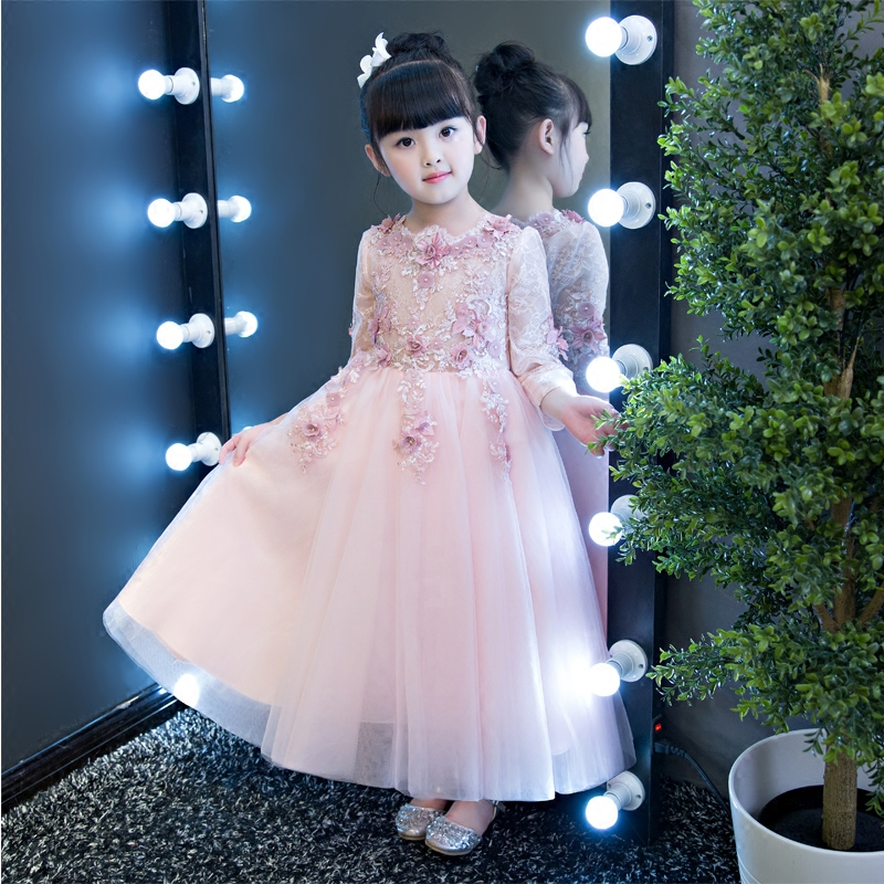 2017New Spring Autumn Kids Girls Teenagers Princess Flowers Dress Wedding Ceremony Party Prom Dress Girls Clothes for 3~15 years new arrival girls dress berngi kids princess wedding party clothes for 3 12 years girls children sleeveless prom white clothes