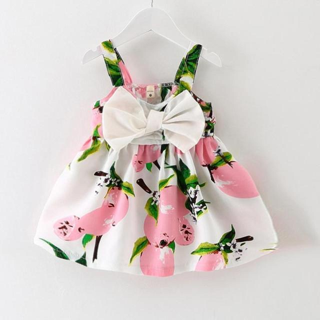 2017 New Baby Dress Младенческой девочки платья Lemon Печати Новорожденных Девочек Одежда Slip Dress Принцесса День Рождения Dress для Девочки