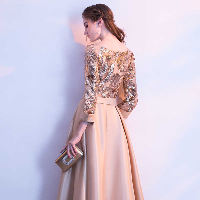 ... weiyin New Evening Dress The Banquet Elegant Gold Wine Red Gray Navy  Blue 3 4 ... fd20a6d01db2