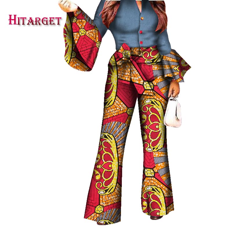 2018 African Print Women Pant Set V-Neck Speaker Sleeve Romper Wide Leg Pants African Ladies Jumpsuits Rompers WY2772