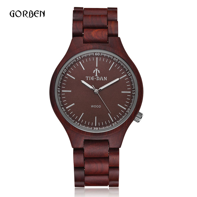 2016 Hot Sell Brand Mens Wooden Quartz Wrist Watch Military Sports Dress Casual Natural Wood Watch