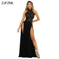 ZJFZML Double Side Side Split Elegant Lace Dress Women Waist Band Cut Out Long Maxi Robe Summer Backless Back Zipper Vestidos