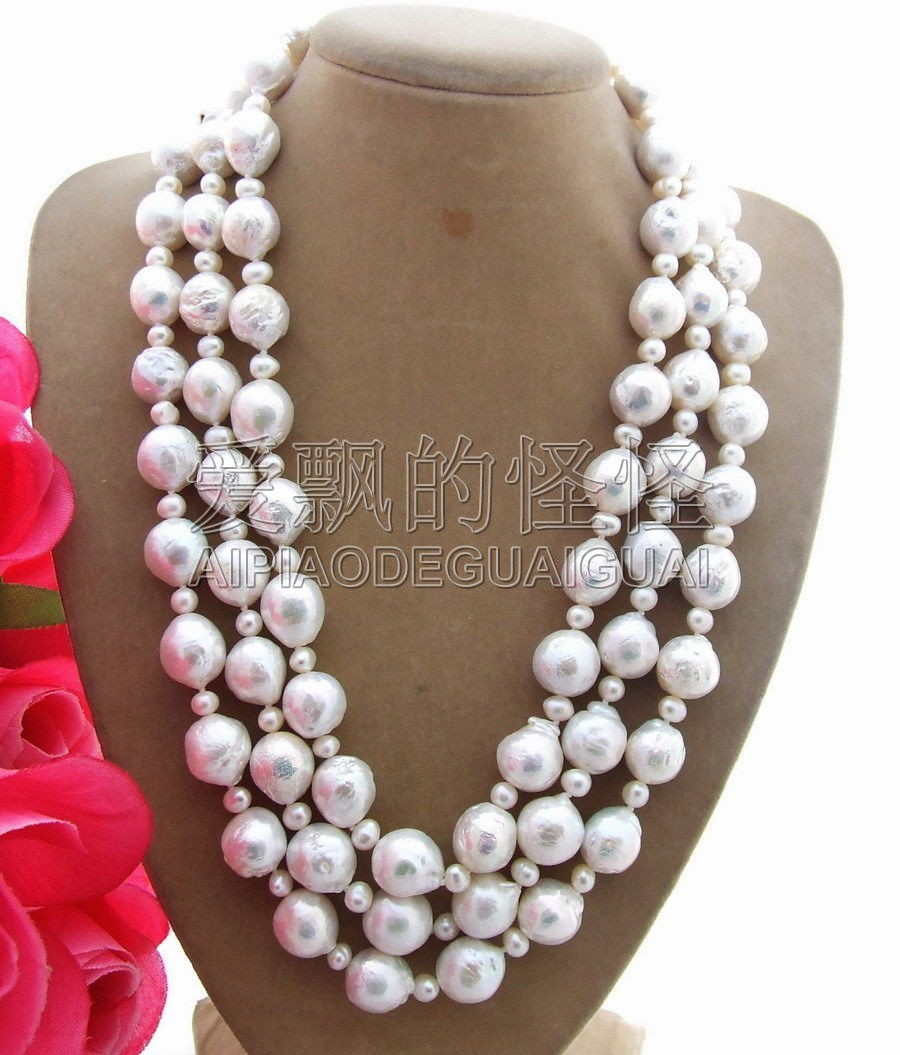 Natural 12x14mm Bead-Nucleated Pearl Necklace-925 Silver Clasp