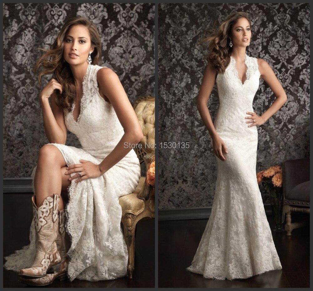 Spanish Lace Wedding Gown: Spanish Lace White Ivory Wedding Dresses Western Vestidos