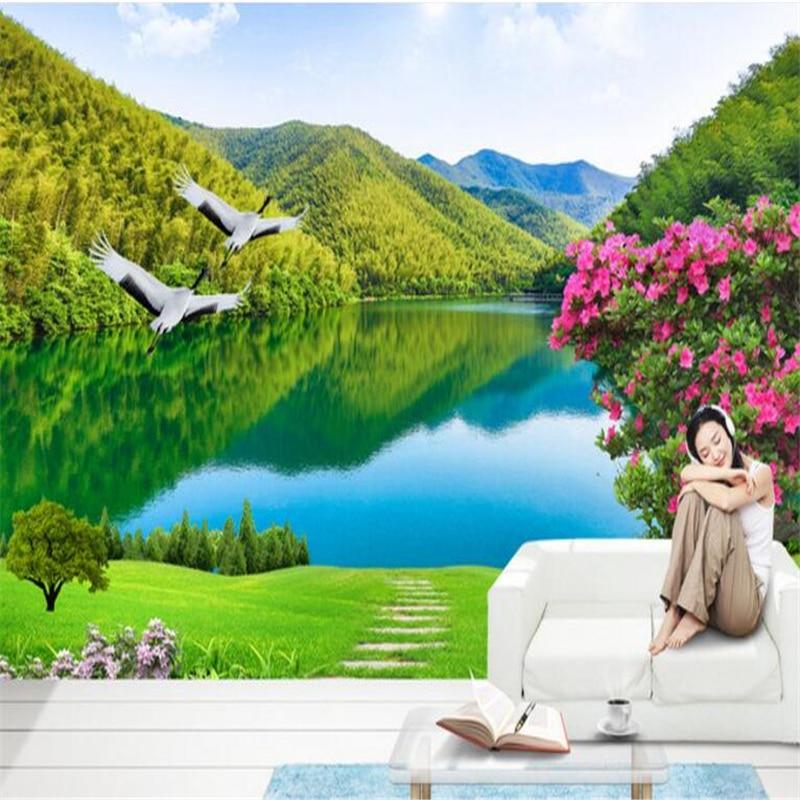Beibehang Disesuaikan Bukan Tenunan Wallpaper Bagus Sungai dan Pegunungan 3D Latar Belakang Pemandangan Dinding Ruang Tamu