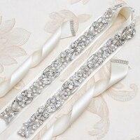 Yanstar Rhinestones Belt Thin Pearl Bridal Belt Handmade Silver Crystal Belt Sash For Wedding Dresses 35WB987
