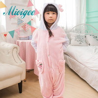 Mioigee 2017 Girl Cute Pink Cartoon pajamas Children Kigurumi Fashion Flannel Keep Warm Pajamas kids clothing for 2-10T