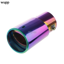 1Pc Universal Stainless Steel Car Rear Round Exhaust Pipe Tail Throat Muffler Tip Drop shipping