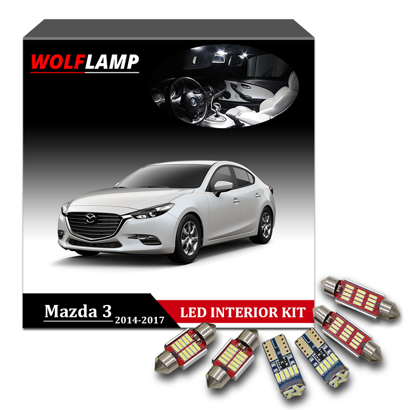 Wolflamp 8Pcs Super Bright White Canbus LED Interior Car Lights For 2014-2017 Mazda 3 Map Light Dome Lamp License Plate Bulb 12pcs canbus white led light bulbs interior package kit for 2007 2012 mazda cx 7 cx7 map dome trunk license plate lamp pink