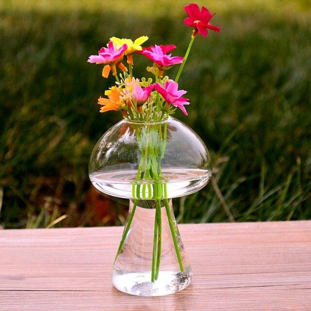 Jarrón de cristal con forma de hongo, recipiente de botella de terrario, para el hogar Decoración de mesa, adornos de estilo moderno, vaso de planta florero