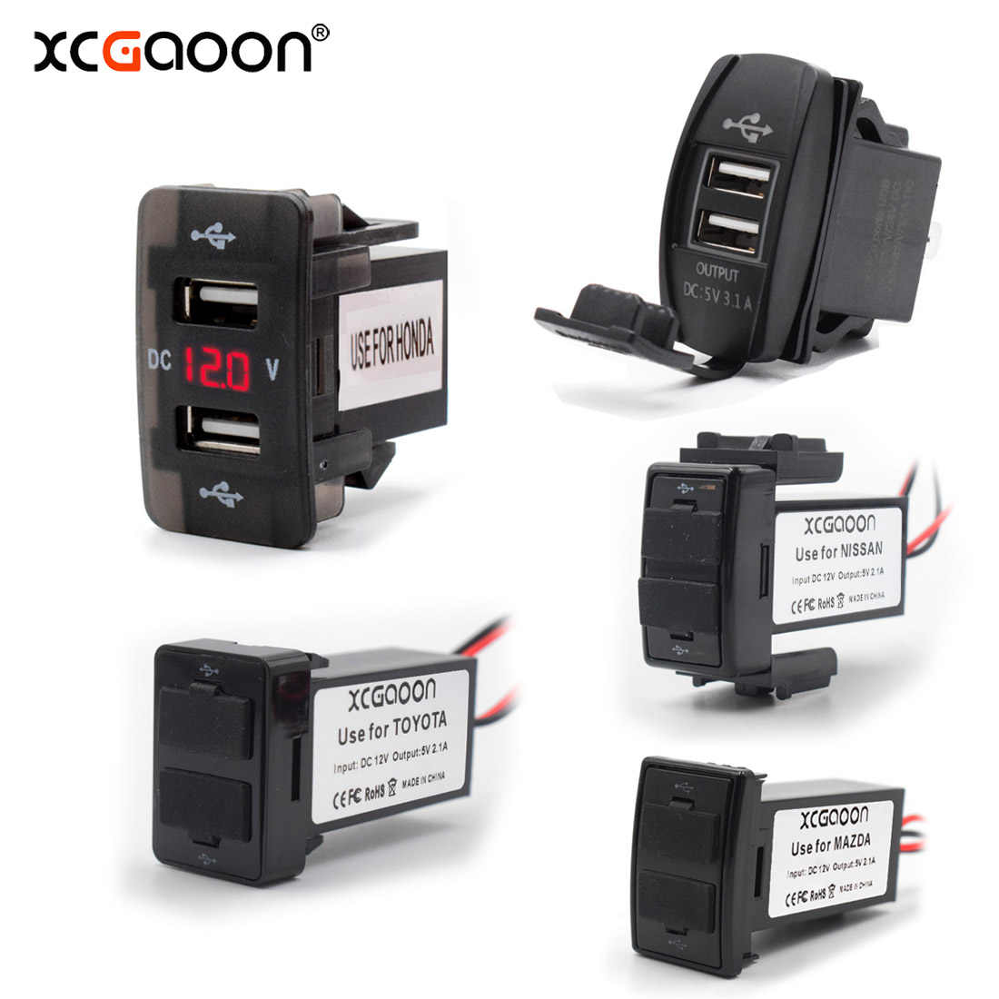 XCGaoon Special Dedicated 2 USB Interface Socket Car Charger for TOYOTA / HONDA / MITSUBISHI / NISSAN / MAZDA / SUZUKI