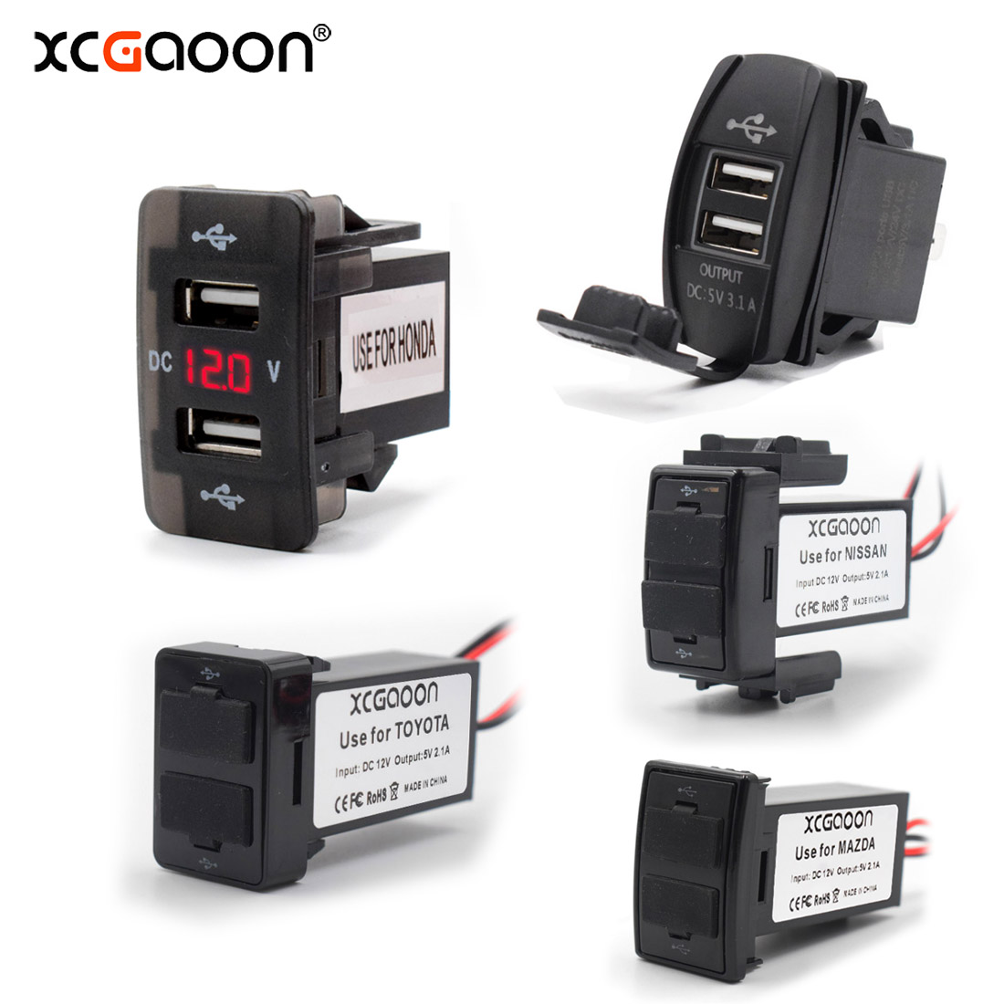 XCGaoon Special Dedicated <font><b>2</b></font> <font><b>USB</b></font> Interface Socket Car Charger for TOYOTA / HONDA / MITSUBISHI / NISSAN / MAZDA / SUZUKI image