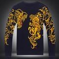 Estilo chinês personalidade dragão requintado padrão de tigre impressão camisola 2016 Outono & Inverno moda malha camisola dos homens M-XXXL