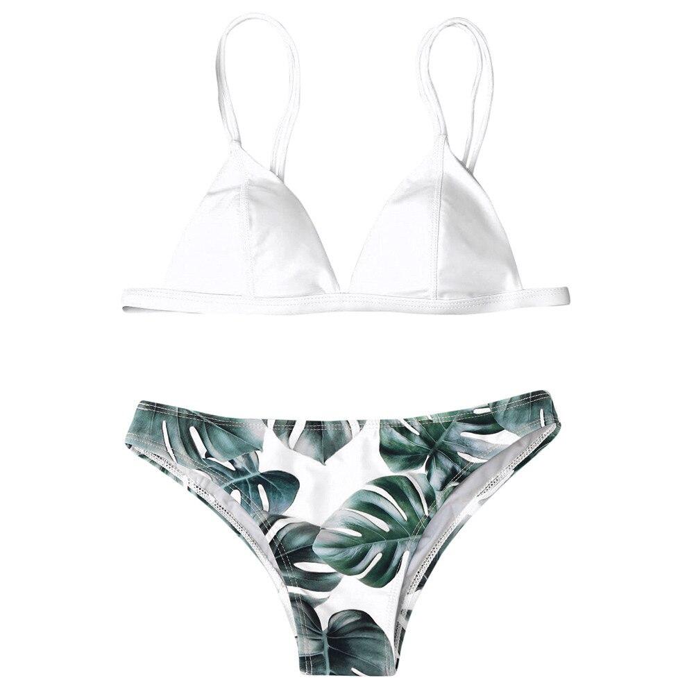 5234bd0104fe6 Women Split Swimwear Bikini Set Tropical Leave Print Bottom Solid Top  Female Brazilian Bather Suit Swimsuit Swim Maillot Tankini