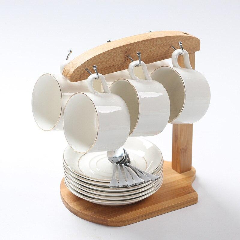 Tasse à café en céramique créative cadeau Six ensembles tasse à café blanche avec bord en or et plateau en acier inoxydable cuillère tasse à thé ensemble cadeau