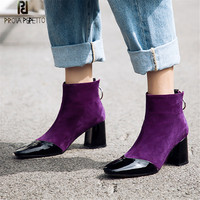 Prova Perfetto New Style Purple Women Ankle Boots Square Toe High Heel Boots Fashion Faux Suede Real Leather Woman Boots Size 40