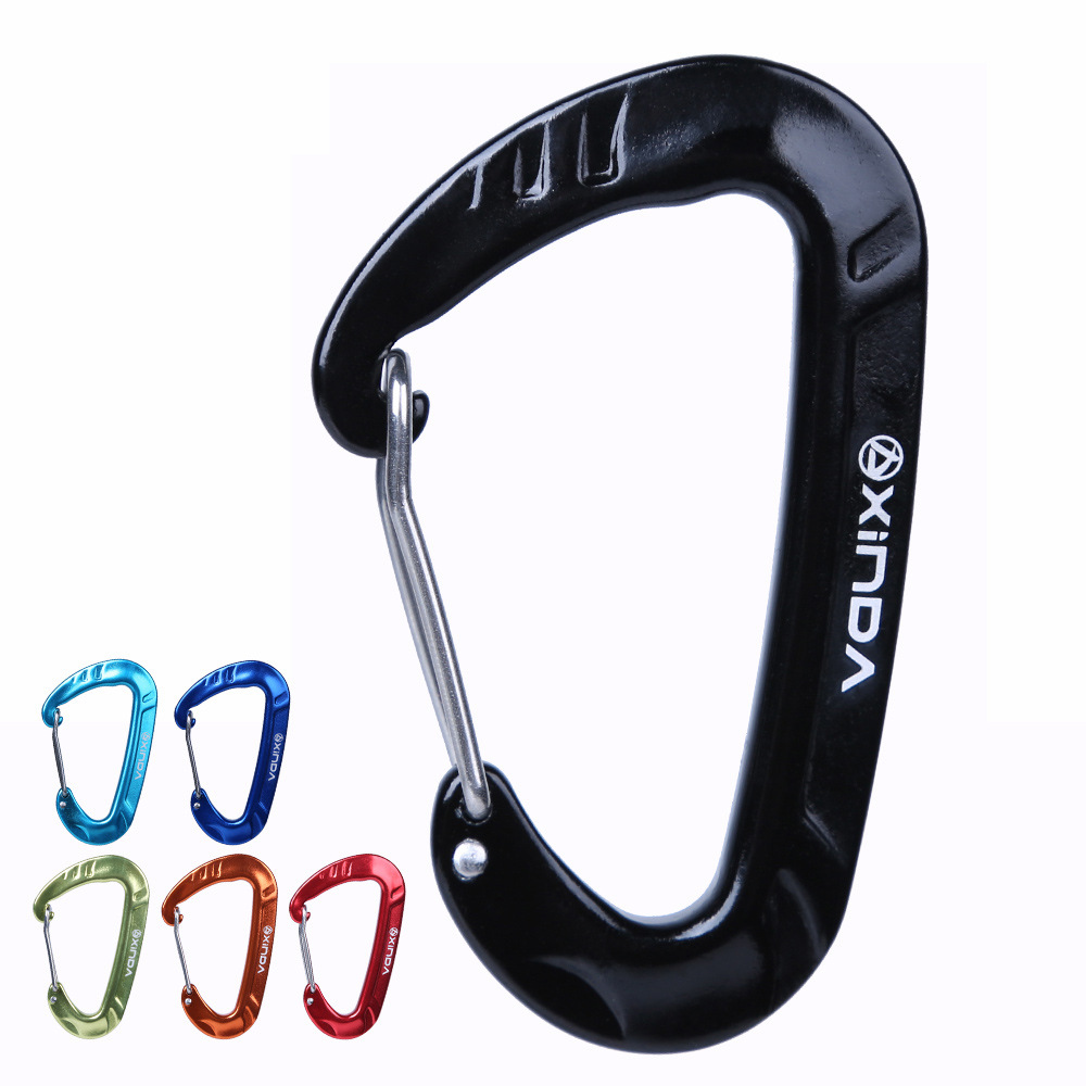 5KN Aluminium Spring Clip Carabiner For Hammock Buckle Hook Camping Hiking Equipment Safety Gear Mountaineering Accessory 25kn professional carabiner d shape safety master lock outdoor rock climbing buckle equipment
