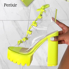2019 Summer New Thick Bottom Fashion Sexy Transparent PVC Leather Lace Show Show Cool Boots Nightclubs Cake Bottom Female Boots new fashion boots summer cool
