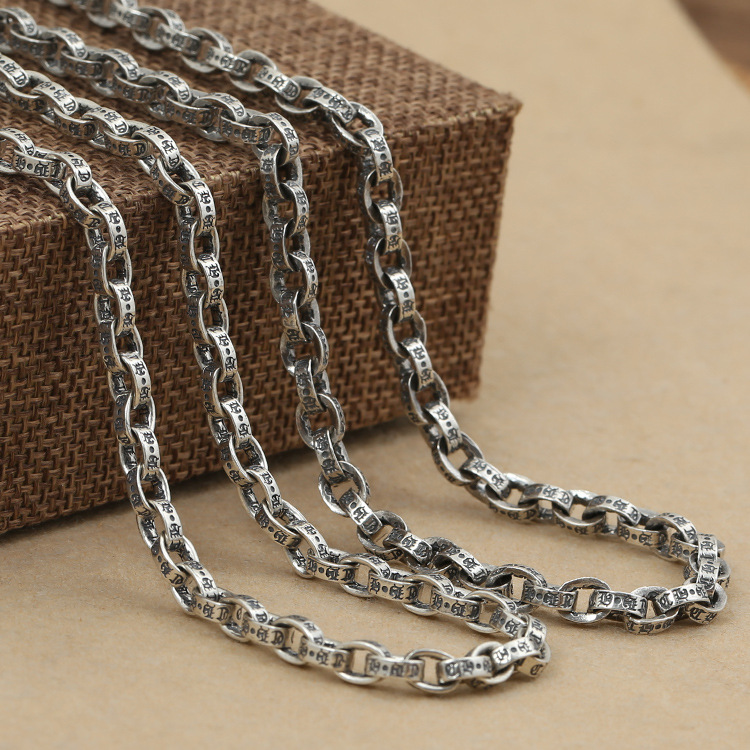 Manufacturers Wholesale Sterling Silver Necklace Men Women Fashion Sweater Chain Long Chain CH Alphabet Square Bamboo Chain tototoys 281 marbulousjunior 16