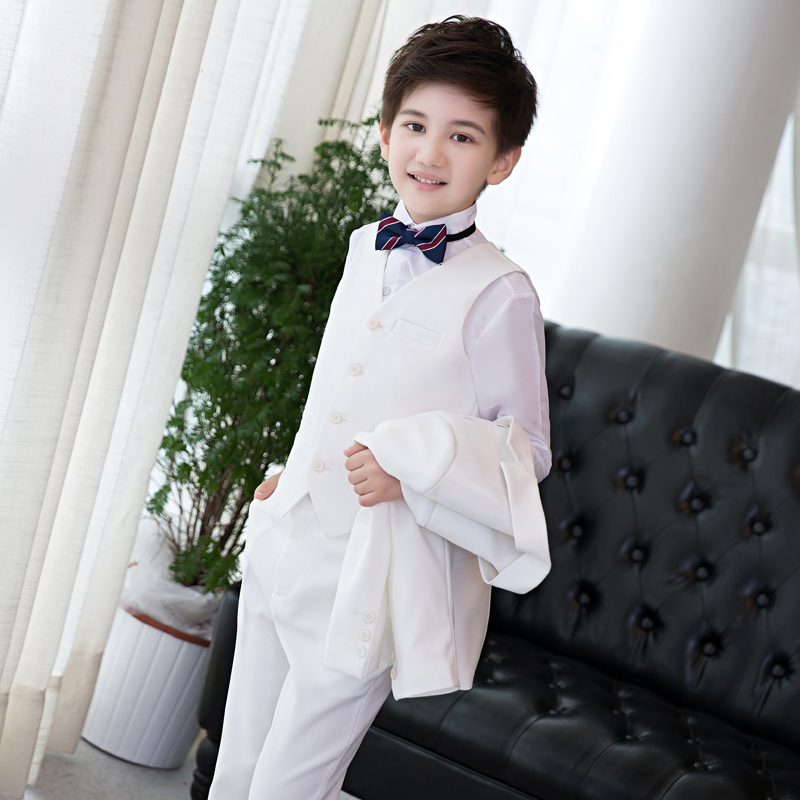 4PCS White Children Boy Suit Autumn Spring Boys Formal Suits Christmas Performance Birthday Clothing Outwear Pants Vest Shirt 3pcs baby boy clothing suits solid white shirt vest striped pants casual children party costumes kids spring autumn sets 088f