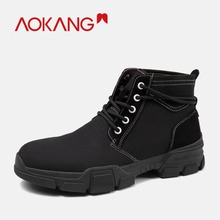 AOKANG 2018 New Men winter  boots Shoes high top Martin boots black mesh flat ankle low thick heel lace up solid casual men shoe