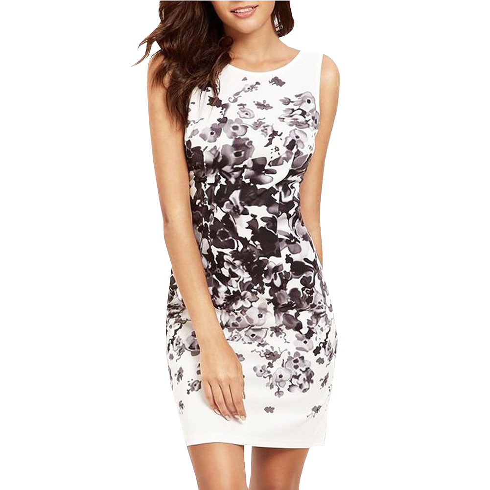 Fashion 2017 New Spring Summer White Black Ink Print Women Mini Dress Retro Sleeveless Vestidos Designs Casual Dresses Slim