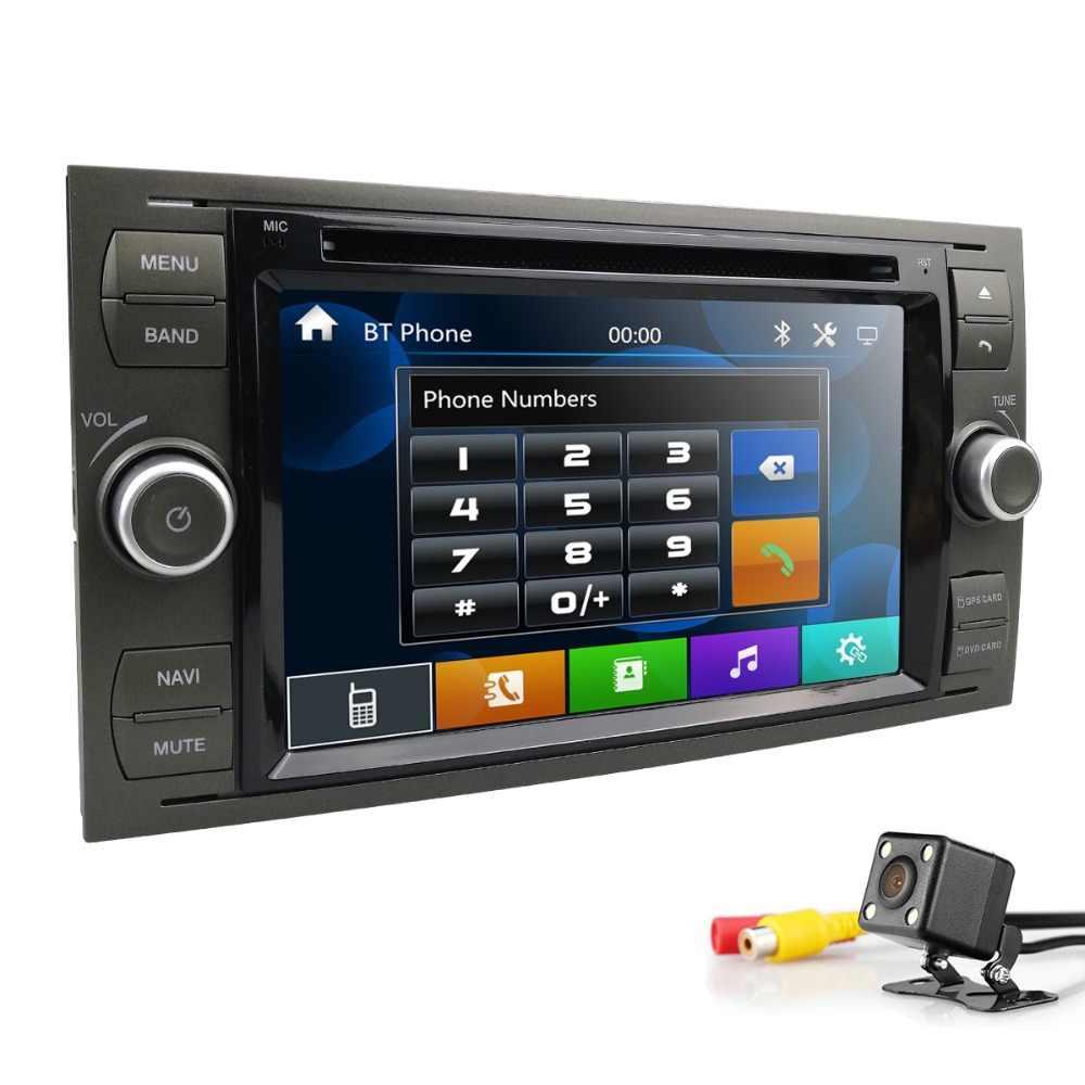 2din سيارة autoradio 7 بوصة دي في دي مراقب لفورد فوكس/فييستا/كوغا/C-Max/Connect/Fusion/غالاكسي/مونديو/S-Max/ترانزيت swc rds bt كام