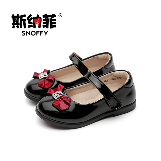 06d8997615e Bow Girls Leather Shoes Close Toe Princess Children Shoes Genuine Leather  Party Wedding Baby Girls Shoes Chaussure Fille TX127