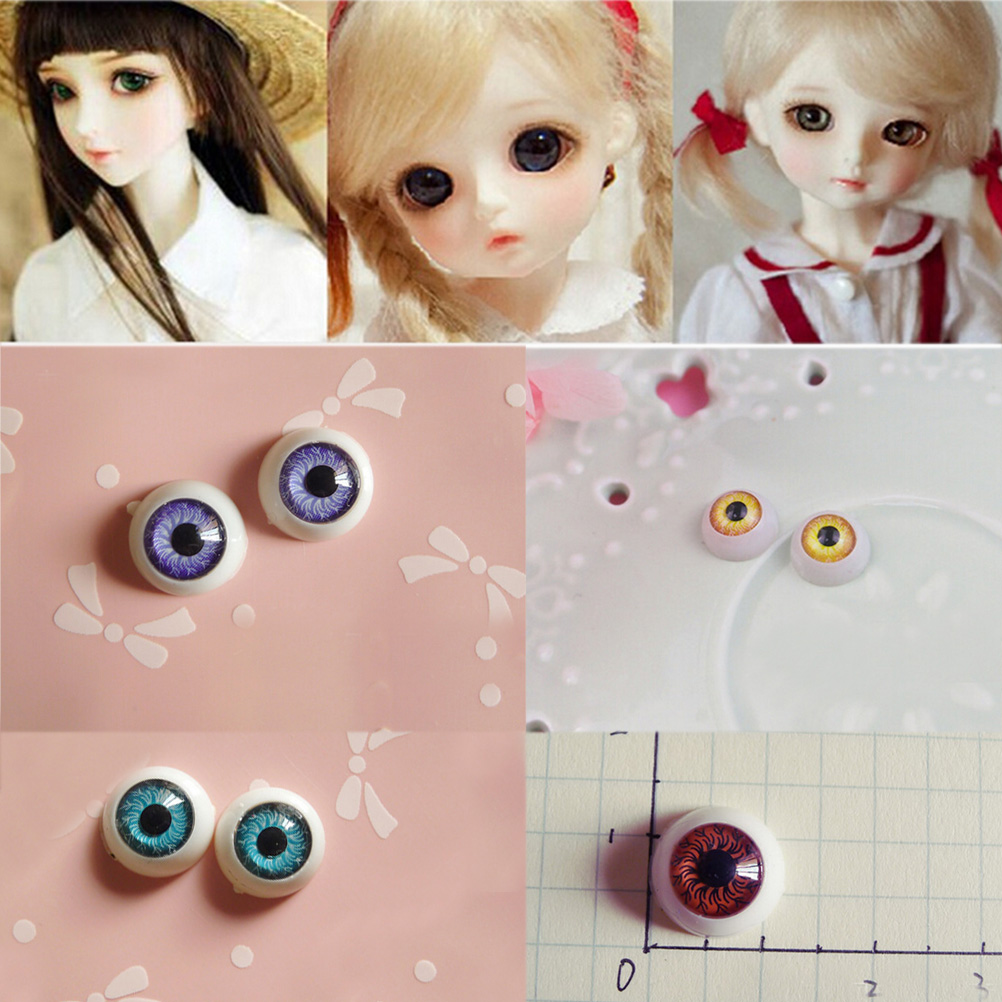 1 Pairs 12mm Doll Eyeballs Half Round Acrylic Eyes for DIY Doll Bear Crafts 5 Colors Plastic Doll EyeBall Doll Toy Parts abbyfrank eyes bjd doll acrylic eyeball eyes 1 pair 1 3 1 4 1 6 14mm 16mm 18mm half round eyeball for doll accessories kids toys