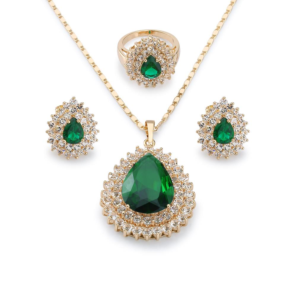 Teardrop charm emerald jewelry sets for bridal party 18k yellow gold teardrop charm emerald jewelry sets for bridal party 18k yellow gold plated pendant necklace earring ring mothers day gift in jewelry sets from jewelry aloadofball Image collections