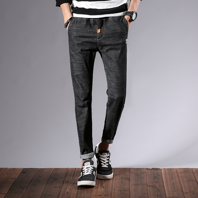 New fashion jeans 2018 mens slim jeans straight tight black jeans business mens casual elastic band jeans trousers