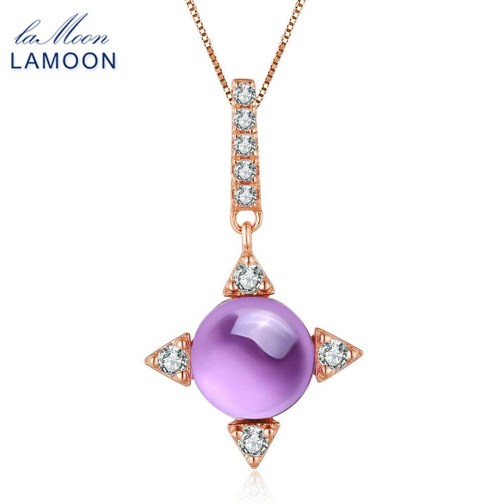 LAMOON 2.3ct přírodní fialový ametyst náhrdelník s přívěskem pro ženy 925 mincovní stříbro jemné šperky příslušenství párty dárek NI003