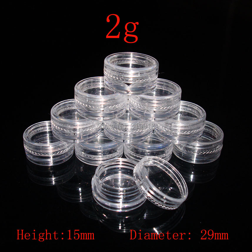2g  Small Round sample  Cream Bottle Jars container , Mini plastic container for nail art storage 2ml DIY PS plastic bottles 3g cream box cream bottle sample bottle gift packaging bottle 50pcs
