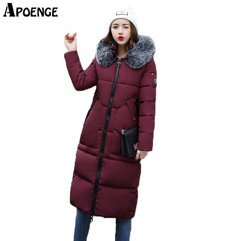APOENGE Women Winter Jacket Coats With Fur Snowwear Warm Thick X-Long Parka Mujer 2017 New Hooded Cotton Padded camperas QN524 apoenge plus size women winter jacket 2017 winter long thick coat with fur collar hooded cartton cotton padded parka mujer qn637