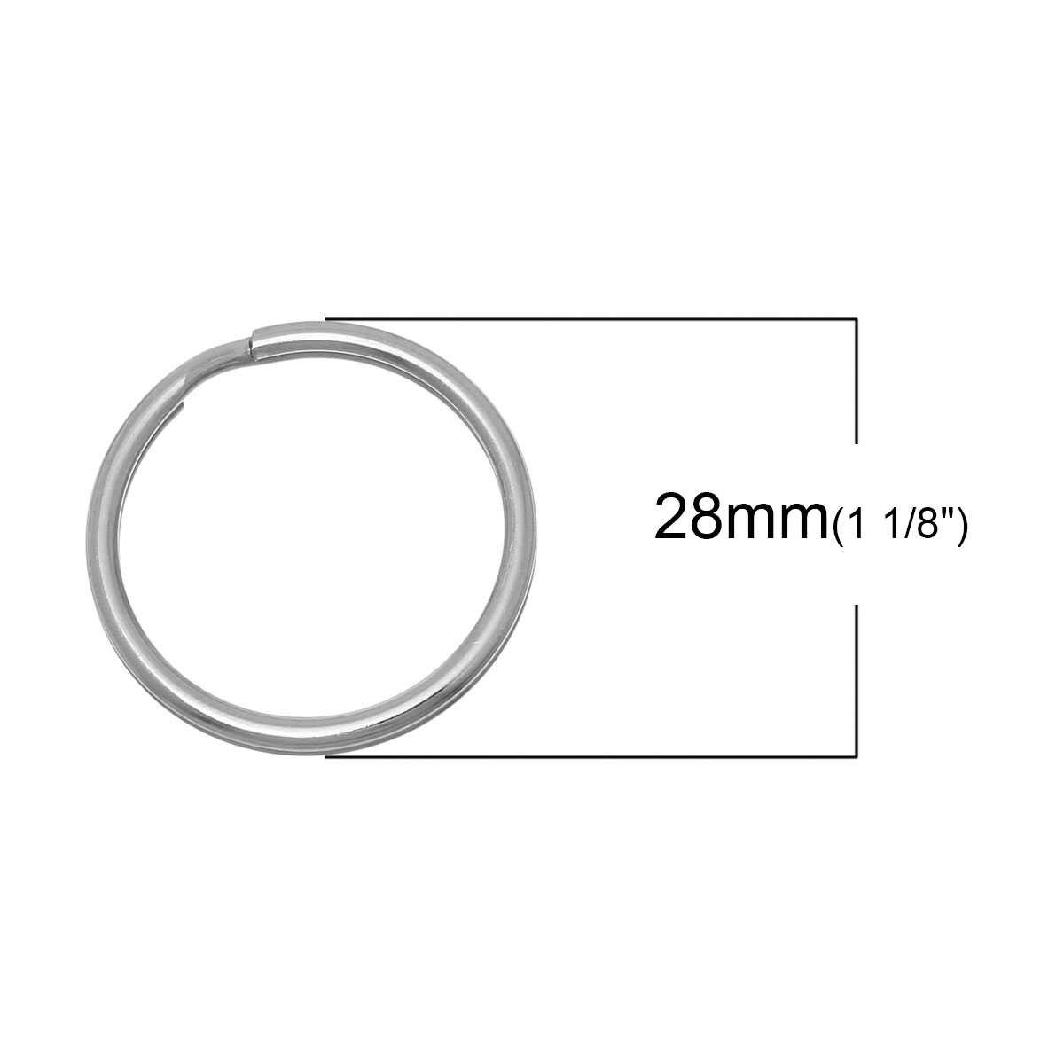 """DoreenBeads Chaveiros Chave Anéis Tom de Prata Redonda de Aço Inoxidável de 28mm (1 1/8 """") de Diâmetro, 1 Peça 2017 novo"""
