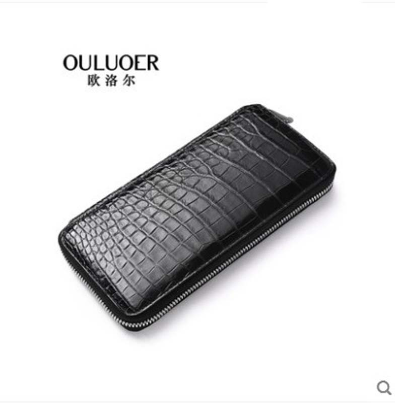 ouluoer Crocodile leather handbag long purse zipper leather belly men large capacity high-grade simple hand bagouluoer Crocodile leather handbag long purse zipper leather belly men large capacity high-grade simple hand bag