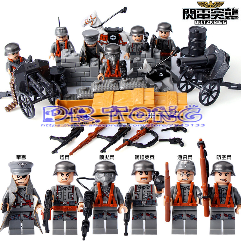 DR.TONG World War 2 German Blitzkrieg Military Soldiers Figures with Artillery Army Building Blocks Bricks Toys D71006 режущая головка для кос dde 640 094