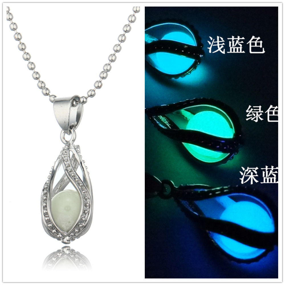 Glow In The Dark Long Chain Necklaces Jewelry For Women Mermaids Teardrop Glowing Stone Necklace Pendant Gift Black Friday 2016