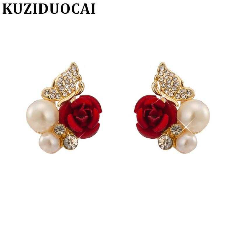 Kuziduocai New Fashion Jewelry Red Rose Butterfly Angel Wings Pearl Elegant Stud Earrings Women Gift  Pendientes Brincos E-745