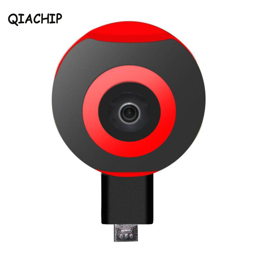 QIACHIP Mini 360 Degree Panoramic Camera Dual 220 Degree Wide Angle Fisheye Lens Micro USB Type