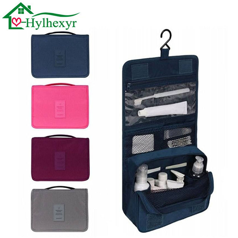 Women Fashion Travel Nylon Cosmetics Bags Water-proof Beauty Makeup Bags Bathroom Organizer Of Portable Bath Hook Washing Up Bag