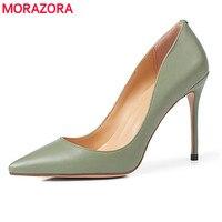 MORAZORA/Новинка 2019 года модные высокое качество Брендовые женские туфли лодочки с острым носком Стилет Высокие каблуки офисные дамское свадеб