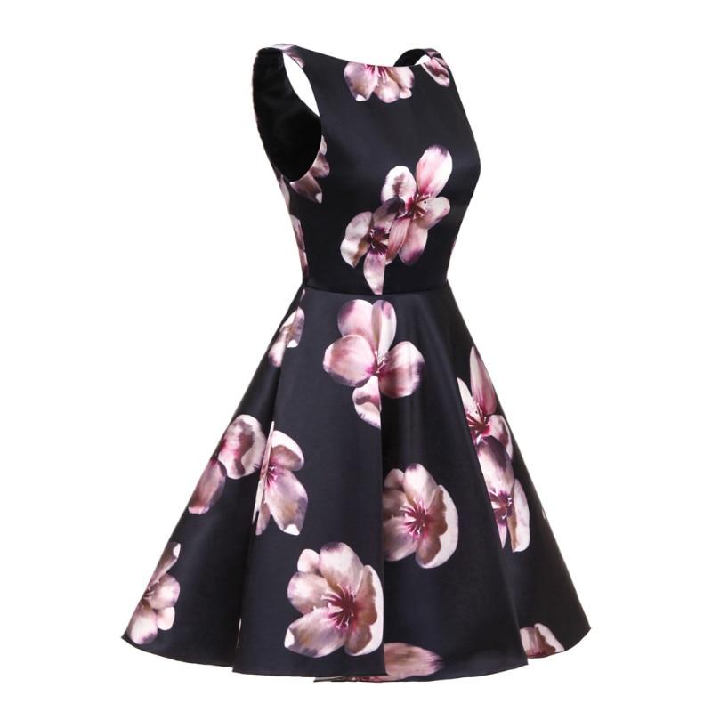 W.JOLI korte avondjurken O-hals bloemen Bloemenprint prom dresses - Jurken voor bijzondere gelegenheden - Foto 2