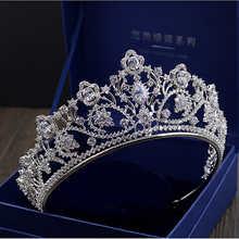 Big Paved Zircon Crown Full Cubic Zirconia Tiara CZ Tiaras Vintage Bridal Diadema Wedding Hair Accessories Coroa Noiva WIGO1168